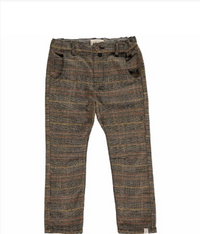 Brown plaid woven pants with suspenders