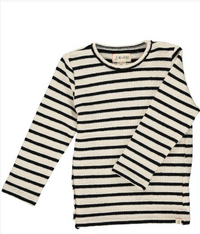 MEN'S Cream/black striped top