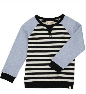 MEN'S White/black stripe raglan sweat