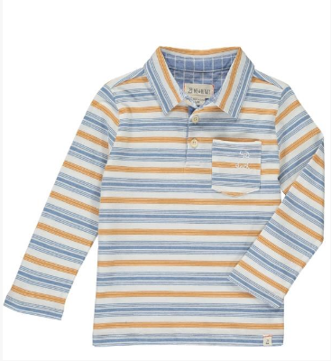 Blue multi striped polo