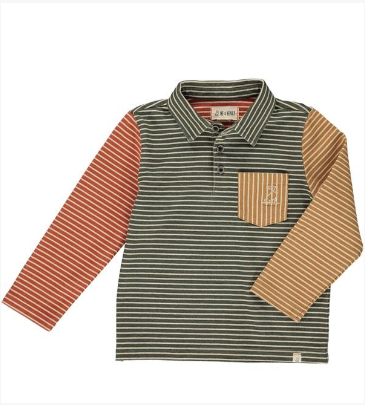 Green/multi striped polo