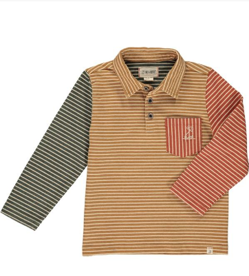 Mustard/multi striped polo