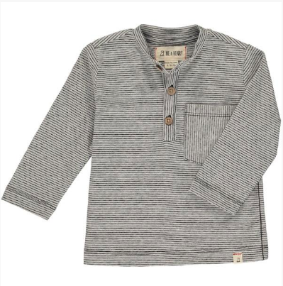 MEN'S Grey stripe henley tee