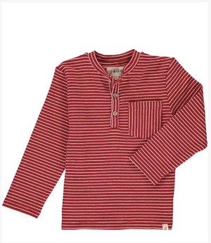 Red stripe henley tee