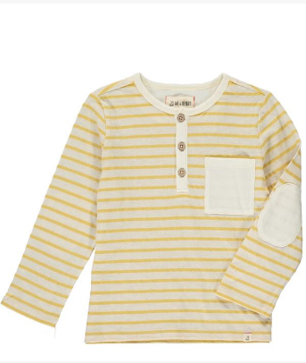Yellow stripe slub henley tee