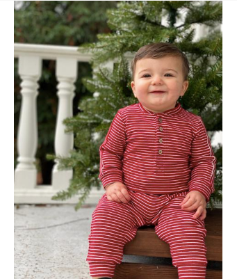 Red stripe jersey romper