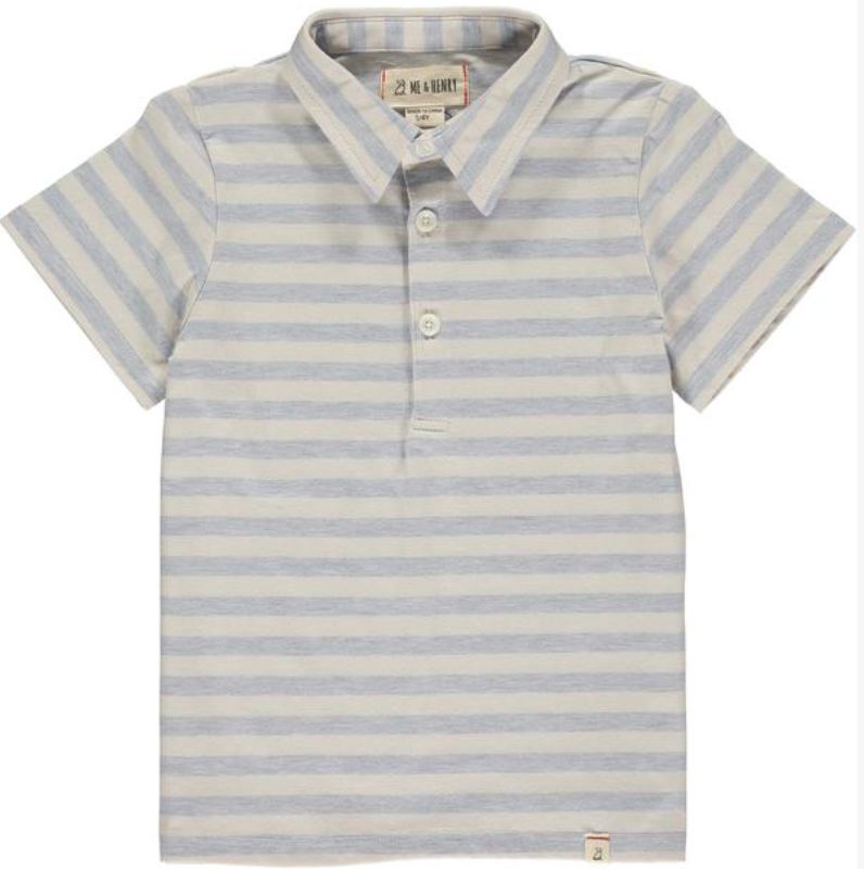 Blue/cream stripe polo