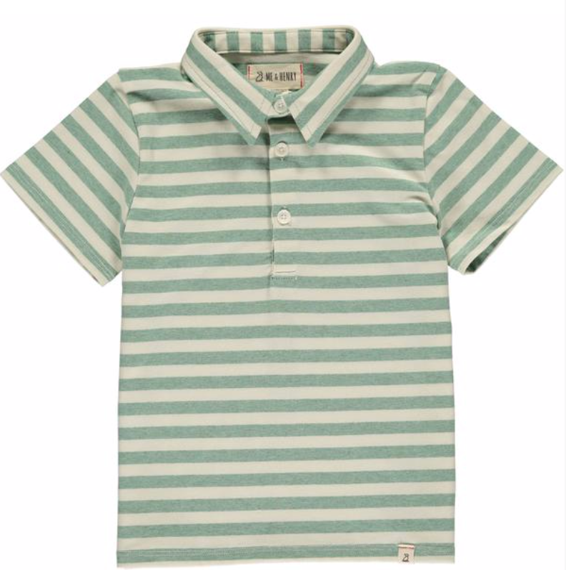 MEN'S Green/cream stripe polo
