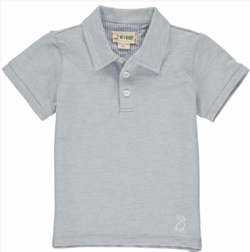 MEN'S Pale blue cotton pique polo