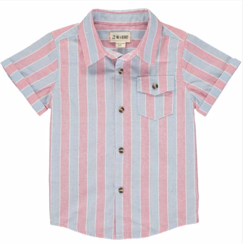 MEN'S Red/grey stripe woven shirt