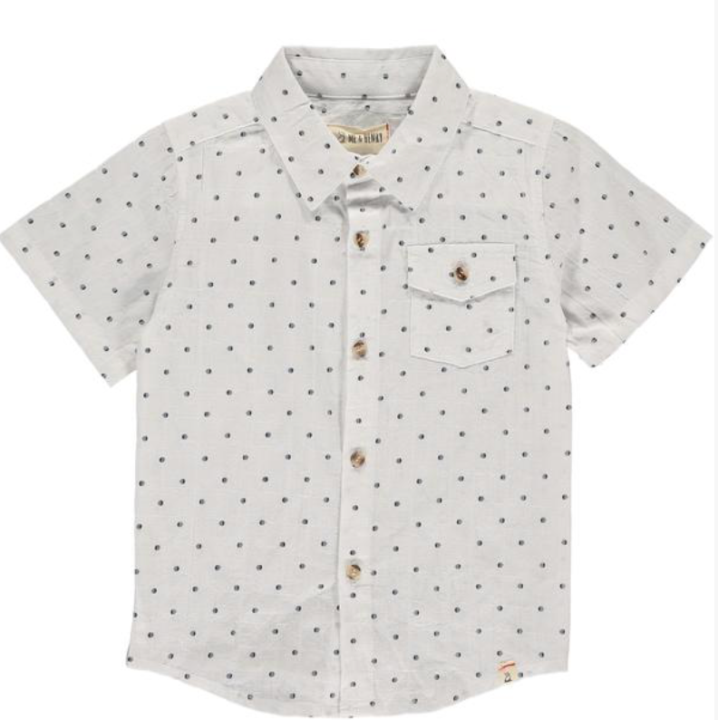 White with navy dots shirt