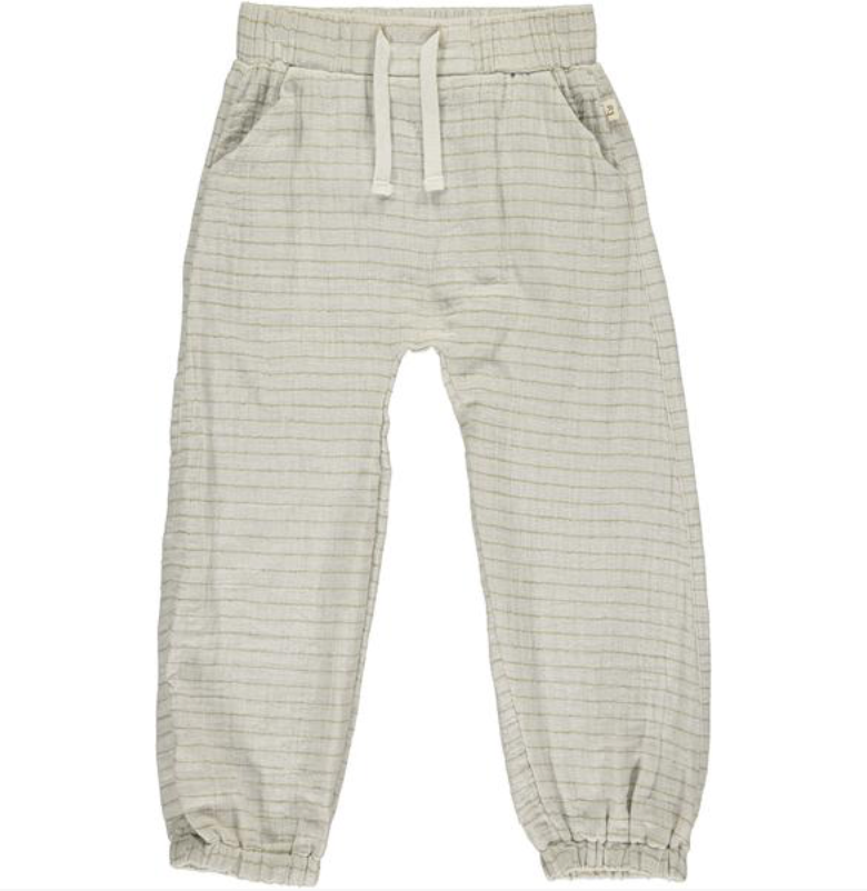 Beige Stripe Lightweight gauze Pants