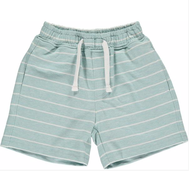 Aqua/white stripe jersey shorts