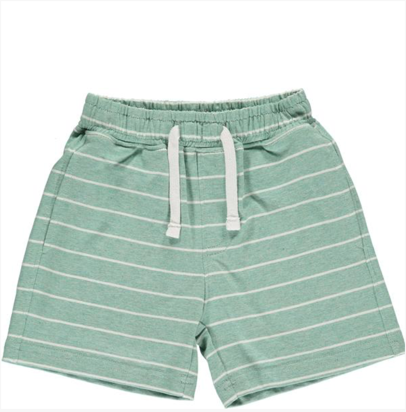 Green/white stripe jersey shorts