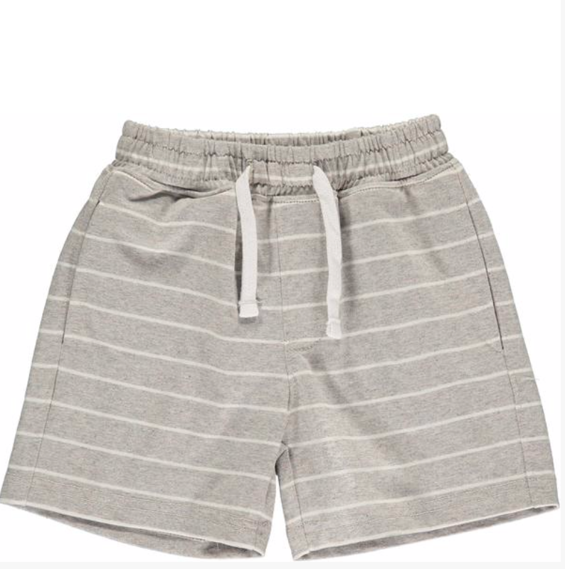 Grey/white stripe jersey shorts