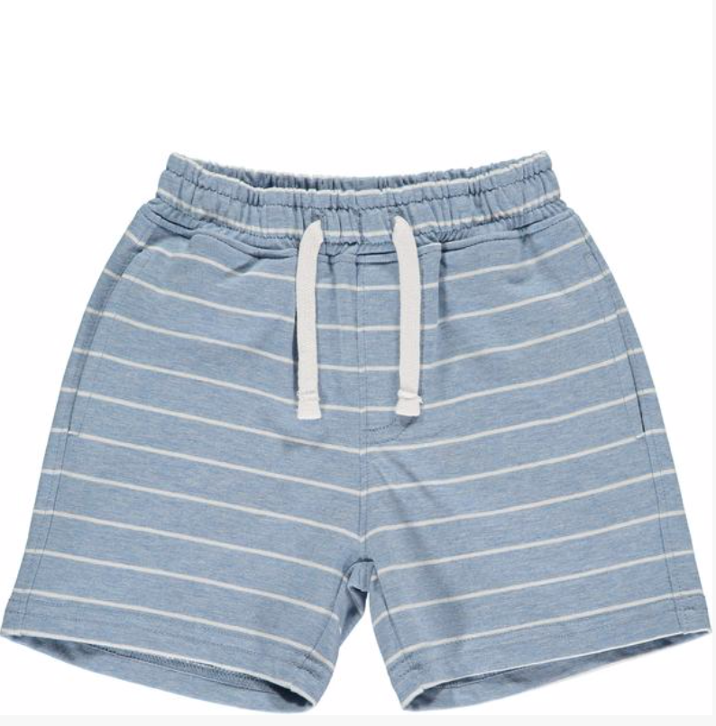 Blue/white stripe jersey shorts