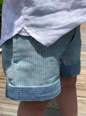 Blue/grey stripe turn-up shorts