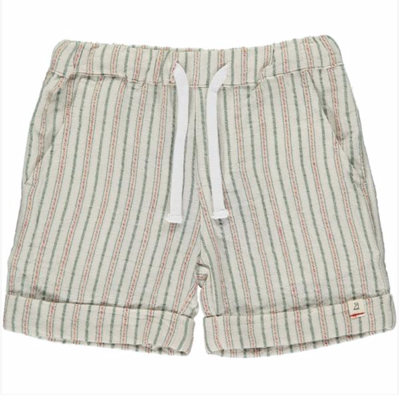 Green textured stripe shorts