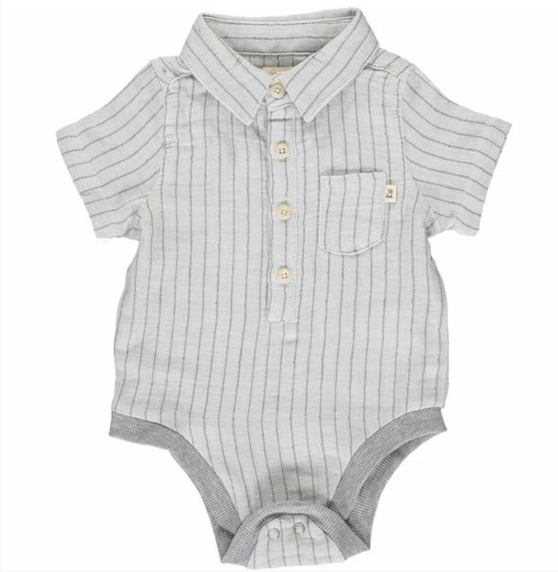 Navy/white stripe gauze onesie