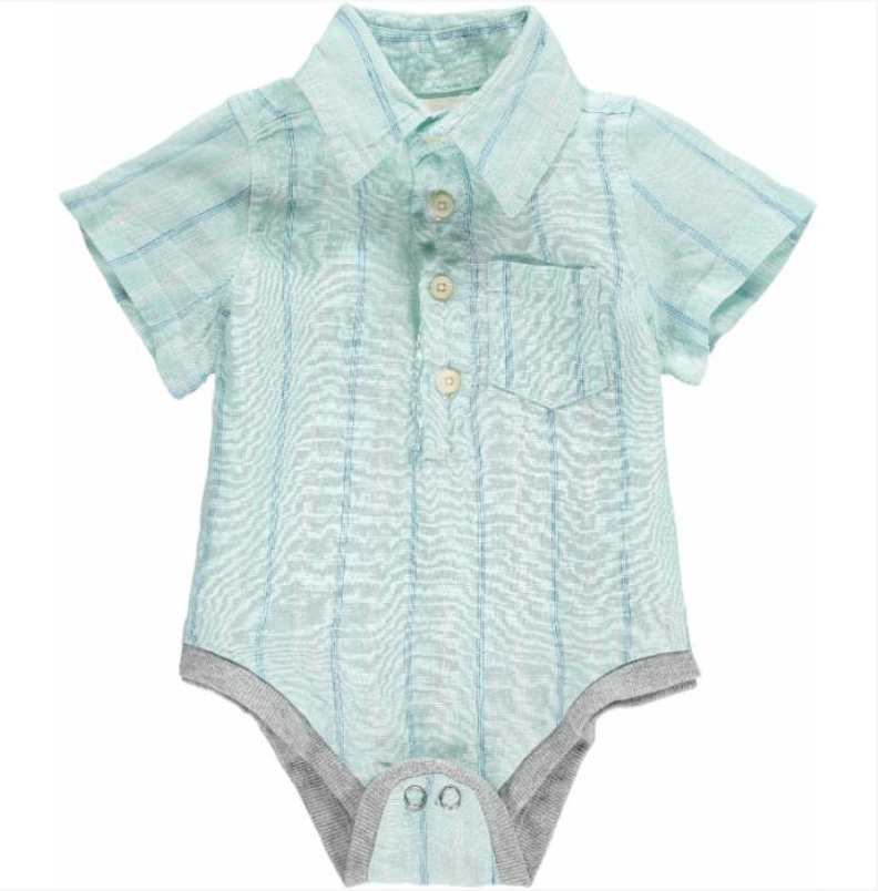 Green Stripe Linen Onesie
