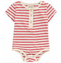 Red Striped Henley Onesie