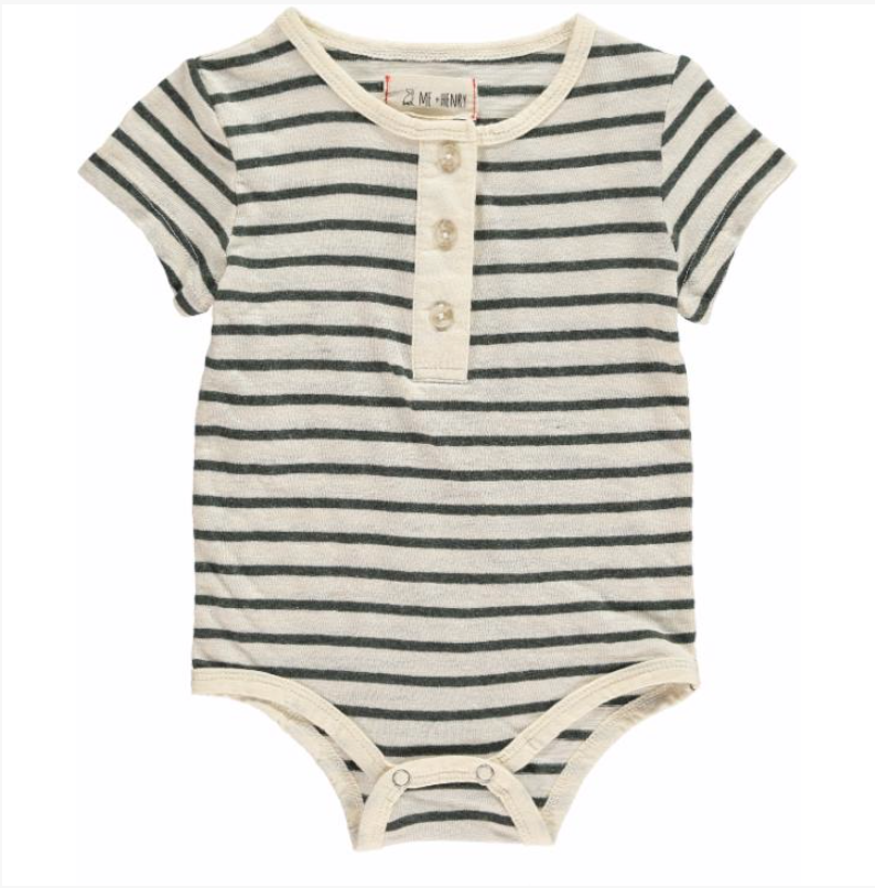 Grey Striped Henley Onesie