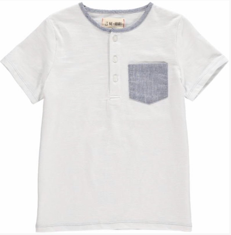 White Tee with Blue Pocket