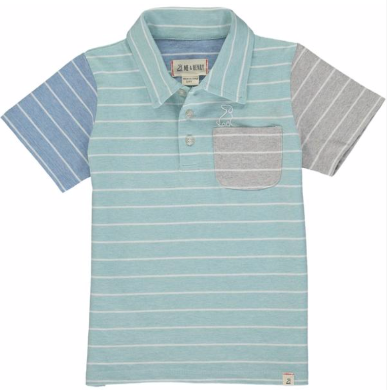 MEN'S Turq/white stripe polo