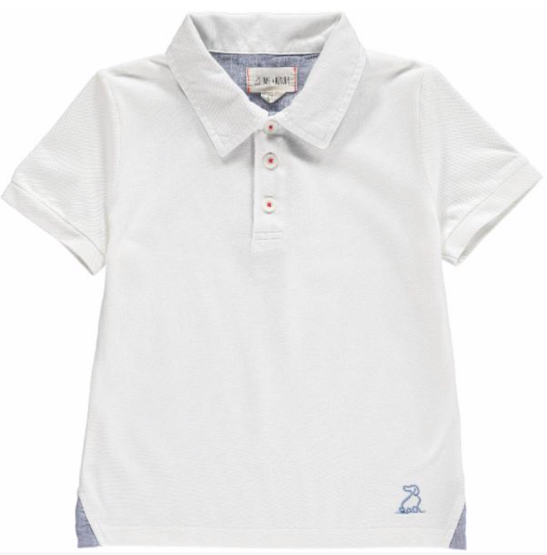 White cotton pique polo