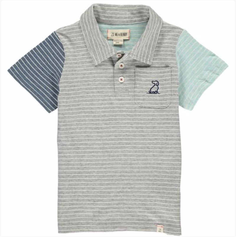 Grey/multi striped polo