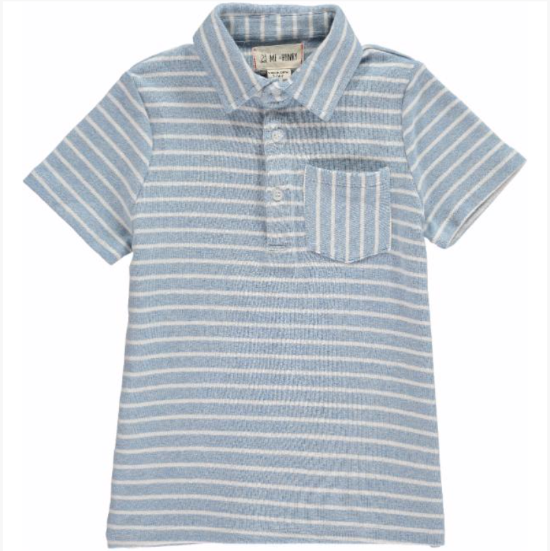 Blue/white striped polo