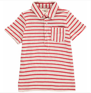 Red/white striped polo