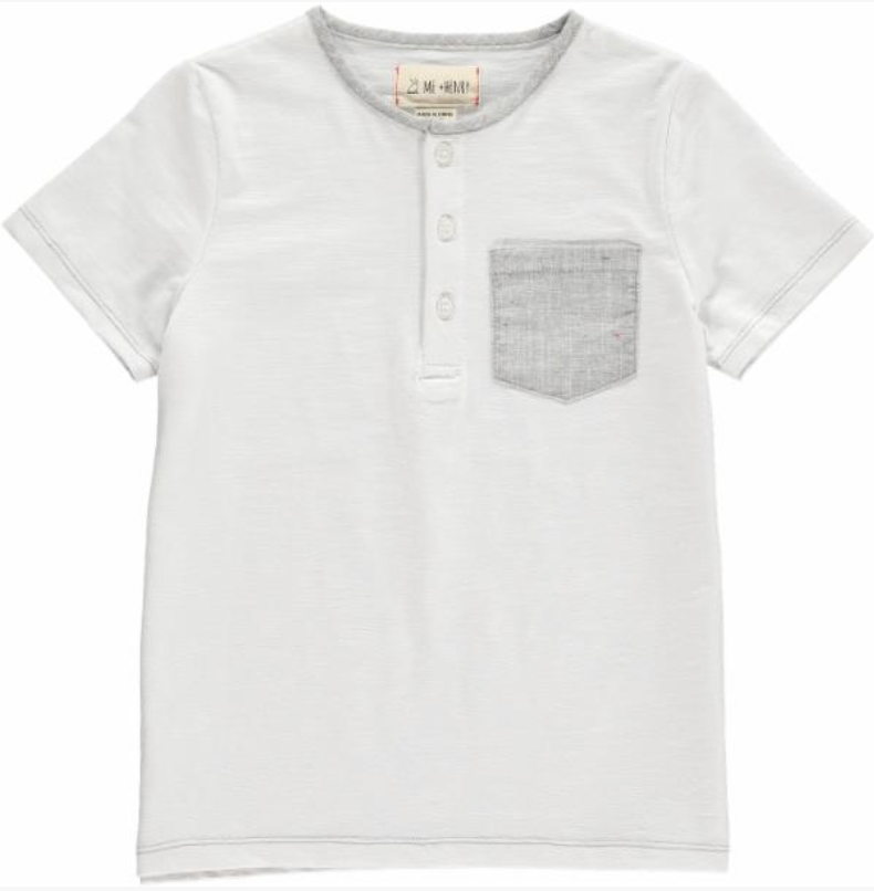 White tee with grey pocket