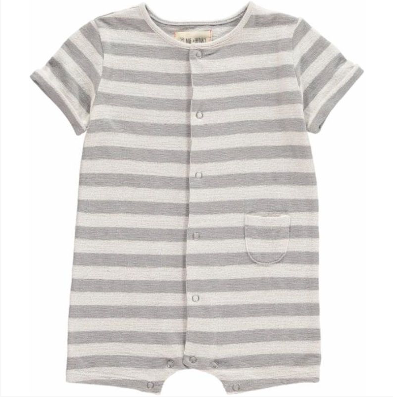 Grey Stripe Jersey Romper