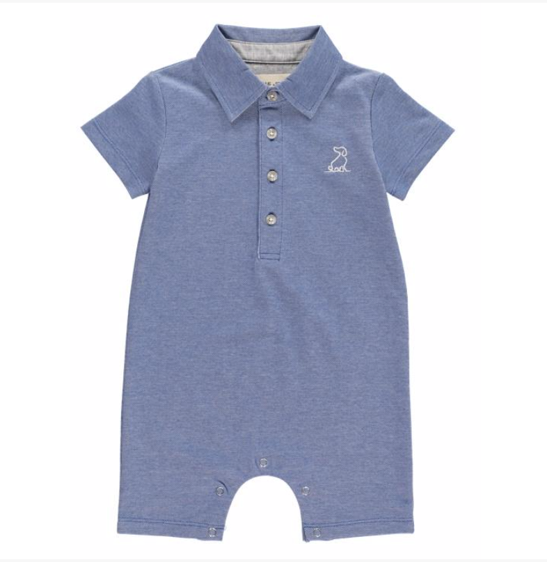 Blue cotton pique polo romper