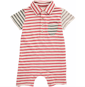 Red Multi Stripe Polo Romper