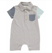 Grey Multi Stripe Polo Romper