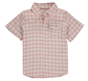 Pink/beige/white plaid short sleeved shirt