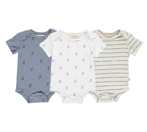 Stripe/multi triple pack onesies