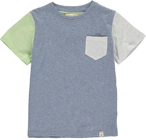 Blue colour block tee