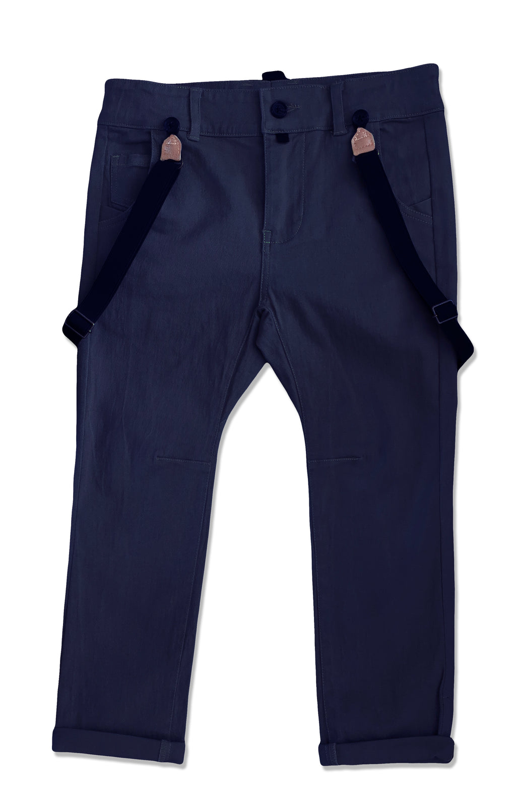 front image of boys navy stretch cotton woven pants with suspenders
