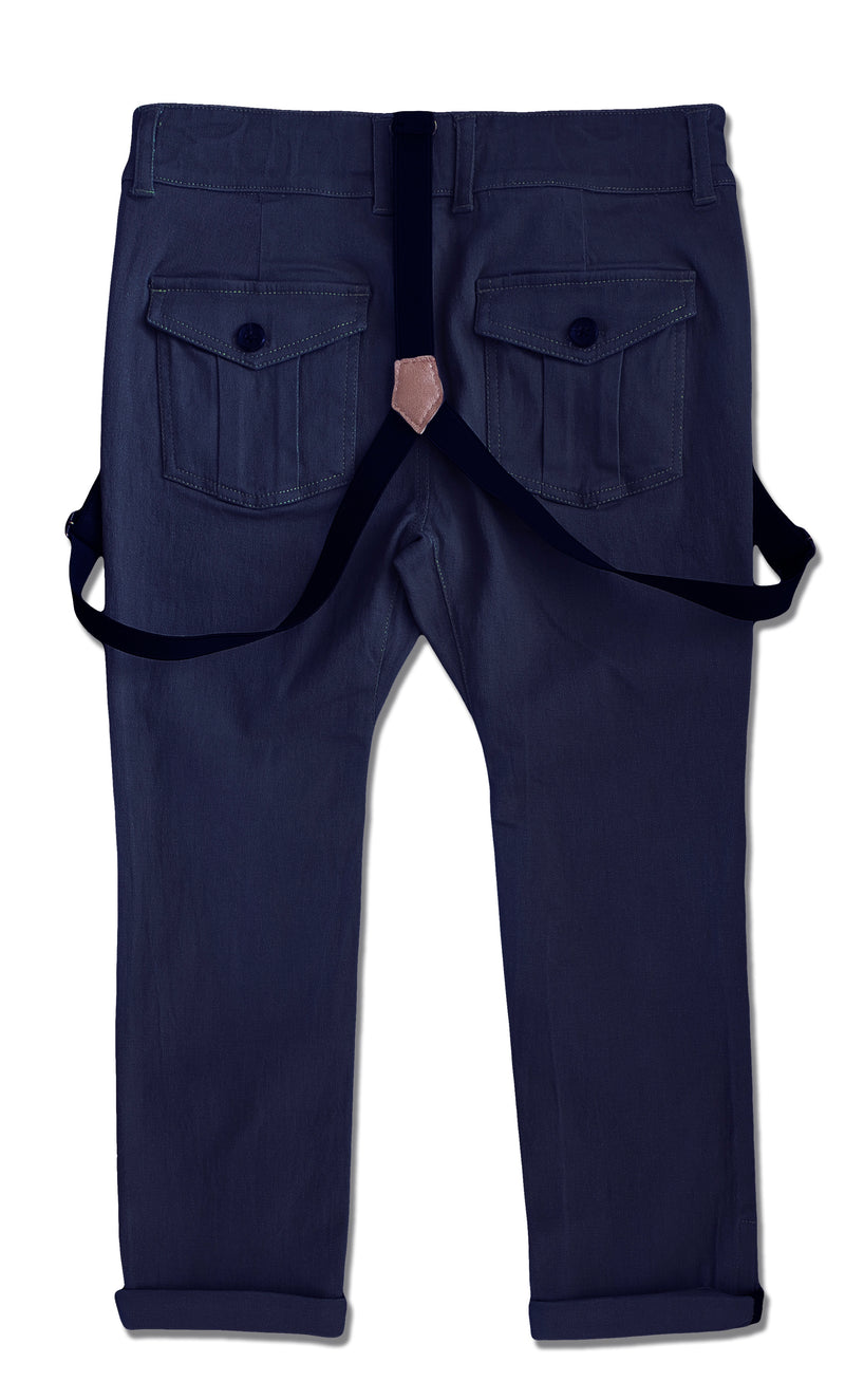 back image of boys navy stretch cotton woven pants with suspenders