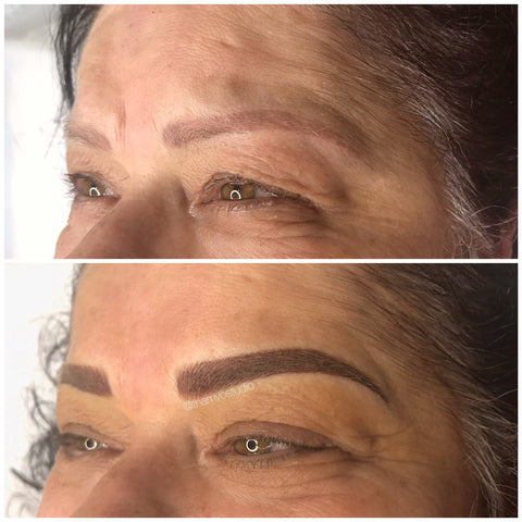 Microblading and shading tattooing for this client who had lost her hair due to chemo treatment. Done at Tham Vo Studio Melbourne