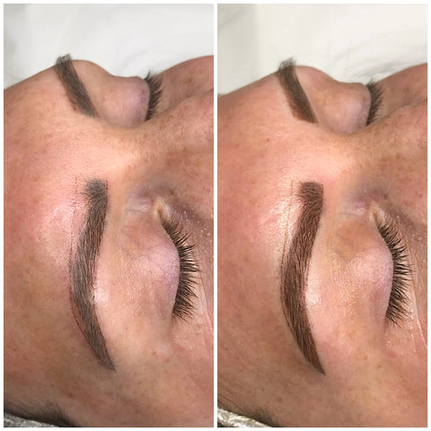 Woman with existing brow tattoo getting brow correction at Tham Vo Studio Melbourne
