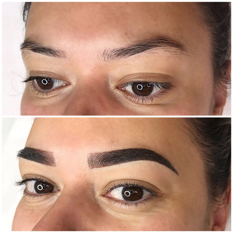 Before and after photo of fresh brows tattooed. Check out our signature TVO Shades and Strokes at Tham Vo Studio Melbourne