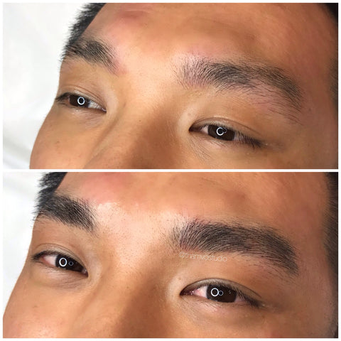 Men can have microblading done too! This will help filling in any gaps or to define the brows a bit more. Man brows at Tham Vo Studio Melbourne.