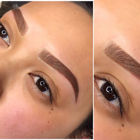Tham Vo Studio's signature brow style is a combination of microblading and shading of the tattoo to give it a beautiful, defined, fluffy look