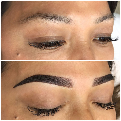 Dark brow tattoo, how amazing do these look? This is a combination of microblading and shading tattoo for Tham Vo Studio client.