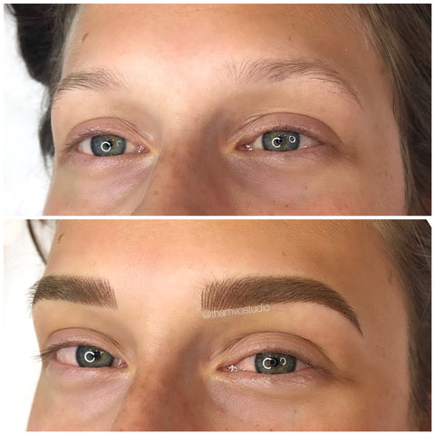 A combination of brow feathering and shading tattoo for this blonde beauty at Tham Vo Studio Melbourne