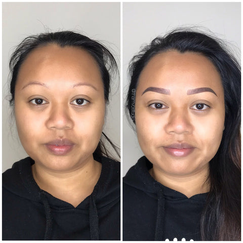 Look at the difference brows can do for your face! Our most popular style is a combination of microblading and shading tattoo style, only at Tham Vo Studio